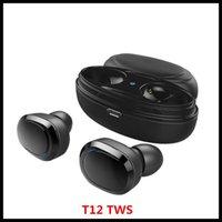kopfhörer und großhandel-T12 TWS Twins 5.0 Bluetooth-Kopfhörer Stereo-Kopfhörer-Kopfhörer Drahtlose Ohrhörer mit Magnet Ladegerät Box Andriod Smartphone