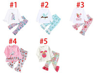 Wholesale toddler easter resale online - Easter Day Baby Girls Outfits Ruffle Sleeve Rabbit Tops Floral Print Pant Set Spring Fall Toddler Boutique Clothes