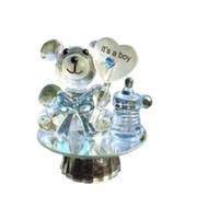 ingrosso favori di battesimo doccia per neonati-50pcs / lot ti amo buon compleanno Led Crystal Bear capezzolo battesimo battesimo Baby Shower favori per ospite F052901