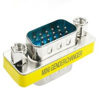 Wholesale 15 pin vga adapter for sale - Group buy 2019 Computer Cables Pin VGA SVGA HD15 VGA Male To Male Plug Coupler Mini Gender Changer Adapter Converter Yellow