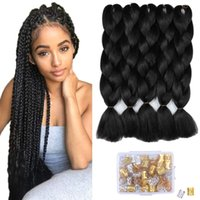 Wholesale colors for ombre hair resale online - Ombre Kanekalon Braiding Hair Jumbo Braiding Hair Inch Black Synthetic Hair Extensions for Braiding Crochet Twist Box Braids B