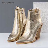 Wholesale wedges snake resale online - 2019 Snake Print Ankle Boots for Women Autumn Winter Western Cowboy Boots Women Wedge High Heel Gold Silver Fashion Shoes