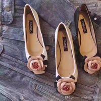 ingrosso cunei di prua neri-Designer Dress Shoes Autunno Donna Ufficio Ladies Low Heel Pumps Bow Black Wedges Comodi tacchi Pompe da donna di lavoro formale della mamma