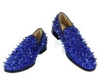 ingrosso scarpe di glitter blu per il matrimonio-Mocassini Slip-on di alta qualità di Kave EU39-EU46 Scarpe a spillo glitterate uomo Royal Blue Dandelion Flats Scarpe da sposa per uomo Uomo