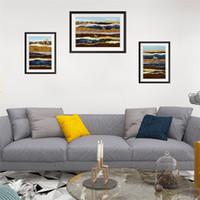 molduras para adesivos de parede 3d venda por atacado-ISHOWTIENDA Imita 3D Falso Picture Frame Sala de estar 3 Couplet Pintura Moda Criativa Adesivos de Parede