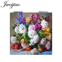 güzel çiçekler cepleri toptan satış-JWEIJIAO Güzel Çiçekler Saksı bitki Kuşlar Fotoğraf Cep Aynası Mini Katlanır Kare 1X / 2X Büyüteç PU Deri Makyaj Aynası