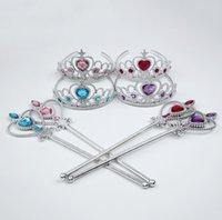 cosplay coroa venda por atacado-Meninas Princesa acessórios de cosplay Crown + vara da fada definido para o desempenho do partido Crianças halloween maquiagem bijuterias 4 cores