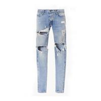 justin jeans venda por atacado-2017 melhor versão FOG homem Selvedge zipper destruída magro slim fit justin bieber Vintage rasgado azul jeans