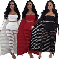 Wholesale girls striped cardigan cotton resale online - women piece set tracksuit striped Crop top leggings cardigan coat sleveless cape pants outfits suit hollow out clothes LJJA2474