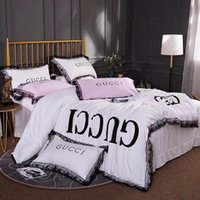 Wholesale designer king size bedding sets online - Luxury Black Lace Designer Bedding Sets Queen King size Silk Cotton Duvet cover Bed sheet set Pillowcases Gifts
