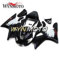 yamaha r1 satış sonrası flamalar toptan satış-Beyaz Siyah Fairings + Yamaha YZF1000 R1 2000 2001 Için Hediyeler Komple Bisiklet Vücut Çerçeveleri R1 00 01 Aftermarket Motosiklet OEM Kapakları