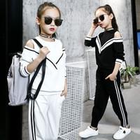 ingrosso ragazze tuta bianca-Fashion Big Girls Tute sportive Off Shoulder Abbigliamento bianco e nero per Teenage Spring Autumn Tuta Kids Plus Size
