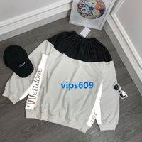 ingrosso donne nere di maglione del collo dell'equipaggio-T-shirt manica lunga Felpa a manica lunga T-shirt nera Cuciture in pelle 3D lettere riflettenti Stampa maglione girocollo donna
