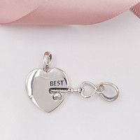 Wholesale heart charms best friend resale online - Authentic Sterling Silver Beads Best Friends Heart Key Pendant Charms Fits European Pandora Style Jewelry Bracelets Necklace