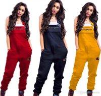 pantalones de damas pantalones al por mayor-2019 Mujeres Campeones Bordado Lette Tirantes Pantalones Pantalones de moda de señora Spring Pantalones largos Tres colores de tamaño completo S-2XL Pantalones de maternidad