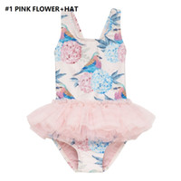 Wholesale hats crosses resale online - 2019 Ins Kids Girl Tutu Swimwear Swimsuit One piece with Hat Unicorn Floral Back Cross Bodysuit Stretch