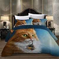 Wholesale pillowcase pets for sale - Group buy Orange Cat Bedding Set King Size Fashionable Soft Cute Duvet Cover Pet Queen Full Twin Single Double Bed Cover with Pillowcase
