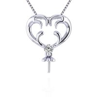 Wholesale silver necklaces for sale - 925 Sterling Silver Christmas Antler Pearl Necklace Setting Pendant Blank for Women