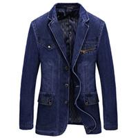 жирная мода оптовых- Men Denim Blazer Jacket Spring Fashion Cotton Casual Suit Jackets Male Slim Fat Coat Blazer Men Masculino 3XL BF805
