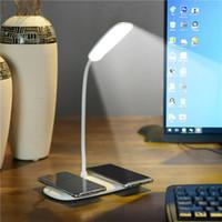 beyaz masa lambaları yatak odası toptan satış-LED masa lambası 360 derece bükme / çift cep telefonu için kablosuz şarj masa lambası beyaz ofis, yatak odası, oturma odası