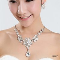 Wholesale wedding necklaces online - Cheap Bridal Charming Rhinestones Crystal Jewelry Necklace Set for Wedding Bride Bridesmaid Prom Party