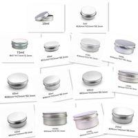 ko großhandel-LAGER Leere Aluminium Cremetiegel Zinn 5 10 15 30 ml Kosmetische Lippenbalsam Container Nagel Derocation Crafts Pot Bottle