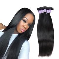 Wholesale human hair extensions body weave online - 8 inch Brazilian Body Wave Human Hair Bundles Mink Peruvian Straight Hair Extensions Unprocessed Virgin Hair Weave Bundles