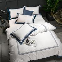 in voller größe weiße bettwäsche-sets großhandel-5-Sterne-Hotel White Luxury 100% ägyptische Baumwollbettwäsche-Sets Queen-Size-Bettbezug (Queen-Size) Bett- / Flachbetttuch Spannbetttuch Set