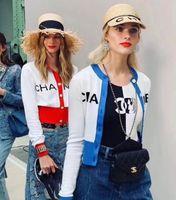 kadınlar örme kazaklar toptan satış-Lüks bayan Tasarımcı örgü gömlek Yeni Güz Kadın Kazak mektubu Tişörtü Örme Kazak Kazak Kısa hırka Tops