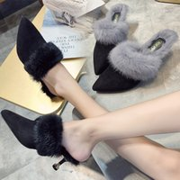 пушистые каблуки оптовых-Winter closed pointed toe plush mules slippers women 3 colors fur high heels ladies outside fluffy furry shoes flipflops mujer