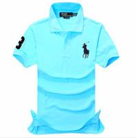 caballo de polo al por mayor-Más el tamaño S-5XL nuevo polo de los hombres de alta calidad de algodón de manga corta camisa de verano Big Horse bordado para hombre polo camisas 2019