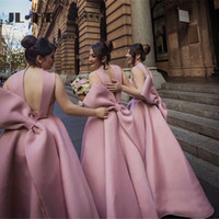 Wholesale beauty dresses for sale - Group buy Beauty Pink African A Line Short Bridesmaids Dresses Long Bow Wedding Guest Party Dress Maid of Honors Bridesmaids Dress Custom Made