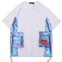 remiendo bolsillo camisetas al por mayor-Hip Hop Patchwork T-shirt Hombres Streetwear Pocket Tshirt Algodón de manga corta 2019 Moda Verano Hombres Multi-bolsillo Tops Tees ZC030