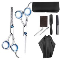 Wholesale professional hair cutting capes resale online - 9PCS Set Professional Hairdressing Scissors Kit Hair Cutting Scissors Hairbrush Hair Clip Cape Grooming Comb For Barbershop CY200521