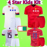 equipos de fútbol al por mayor-4 Star Kids Kit de 2019 mujeres de los jerseys del fútbol del mundial Fútbol americano camisas de los muchachos fija del equipo nacional de EE.UU. Estados Unidos traje uniformes