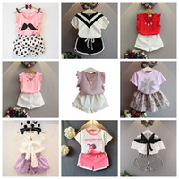 e4effbbf9fca Summer Kids Outfits 2pcs Baby Girls Clothing Sets T-shirt tops+Skirts  shorts pants Tutu Princess Kids girl Clothes Suit watermelon chiffon