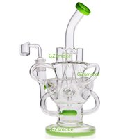 Wholesale triple recycler bong resale online - Recycler Glass Bongs Vortex Bong triple cyclone inline perc dab rig heady oil rigs water pipe fab egg glass pipes with quartz banger bowl