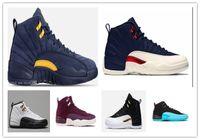 Wholesale 12s bordeaux resale online - Navy Bulls Unc College Cheap Wheat Bordeaux The Master Black Wool Flu Game Michigan Men Basketball Shoes s Womens Sneakers Trainers
