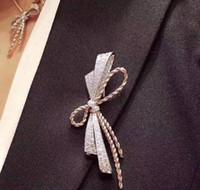 Wholesale brooch women resale online - 2019 Luxury Bow Brooch Pins designer jewelry pins for women Brooches Women Jewelry Gift Wear all seasons
