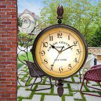 relógios mudo venda por atacado-Retro Estilo Europeu De Metal Relógio de Parede Dupla Face Jardim Relógio De Parede Do Vintage Mudo Dupla Face Decoração Da Casa