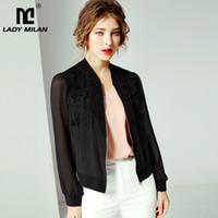 ingrosso giacca di seta donne nere-Lady Milan 100% Pure Silk Camicia da passerella da donna Maniche lunghe Ricami Moda Giacche nere Capispalla