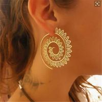 Wholesale gear pattern resale online - New Simple Hollow Pattern Spiral Hook Earrings For Women Exaggerated Circle Leaf Whirlpool Gear Earrings Jewelry e0446