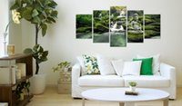 Wholesale buddha decor for home resale online - Canvas Wall Art Pictures For Living Room Pieces Buddha Statue Painting Modular Prints Waterfull Green Nature Poster Home Decor