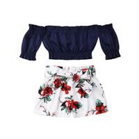 Wholesale baby winter suit cute resale online - 2019 HOT SALE Cute Toddler Baby Girl Flower Off Shoulder Crop Tops Shorts Pants Outfit Sunsuit Floral Sweet Cute Suits