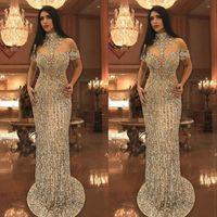 Wholesale sequin arabic dresses for sale - Group buy Arabic Rhinestone Crystals Evening Dresses High Neck Beads Short Sleeve Sparkly Mermaid Prom Dress Stunning Dubai Celebrity Dresses