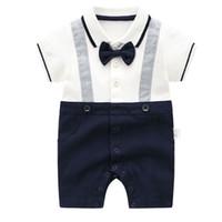 Wholesale gentleman clothes resale online - Baby Boy Romper Solid Splicing Bow tie Pocket Gentleman Rompers Baby Infant Boy Designer Clothes Kids Jumpsuits