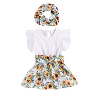 Wholesale designers girl dresses resale online - Baby Girls Sunflower Dresses Flying Sleeve Round Neck Elastic Waist Printed Dress Kids Designer Girls Party Outfits T