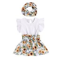 menina vestido de girassol venda por atacado-Meninas do bebê Vestidos de Girassol Voando Em Torno Do Pescoço Elástico Na Cintura Impressa Vestido Crianças Designer de Festa Outfits 0-3 T