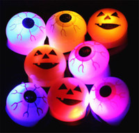 Wholesale toy eyeballs resale online - New LED Light Up Flashing Eyeball Eye Ball Skull Pumpkin Bubble Elastic Ring Rave Party Blinking Soft Finger Lights Xmas Gift