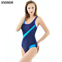 9fe9bffa4d6b2 Ingaga 2019 Sport Swimming Suits For Women One Piece Swimsuit Competitive  Training Swimwear Splice Race Back Bathing Suits Y19052702